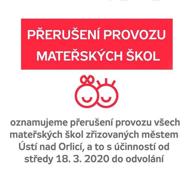 Přerušení provozu mateřských škol v Ústí nad Orlicí